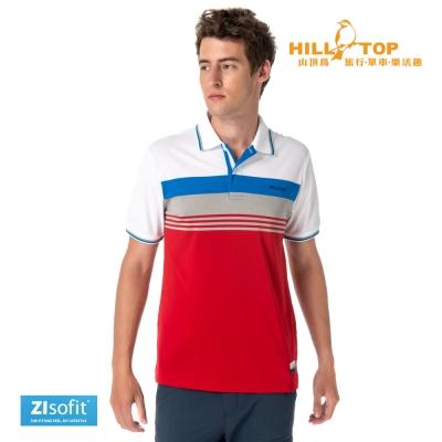 【hilltop山頂鳥】男款ZIsofit吸濕排汗彈性POLO衫S14ME6暗紅