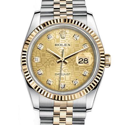 ROLEX 勞力士  116233 J 經典蠔式金色紀念鑽面腕錶- 40 mm