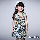 Mini Jule 童裝-洋裝 椰樹花朵後釦背心洋裝(綠)