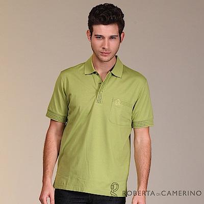 ROBERTA諾貝達 台灣製  線條細節 彈性短袖POLO棉衫 綠色