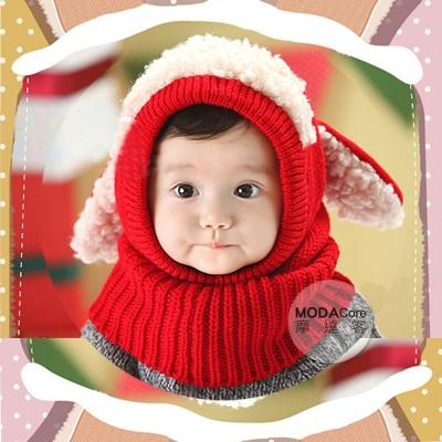 摩達客-羊咩咩大耳脖圍毛線帽(紅色)