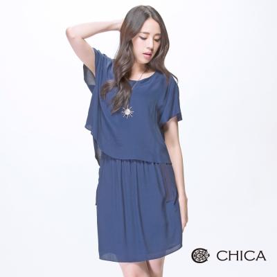 CHICA 度假風假兩件異材質拼接洋裝(2色)