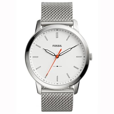 FOSSIL Minimalist 薄型簡約米蘭帶手錶-銀/44mm
