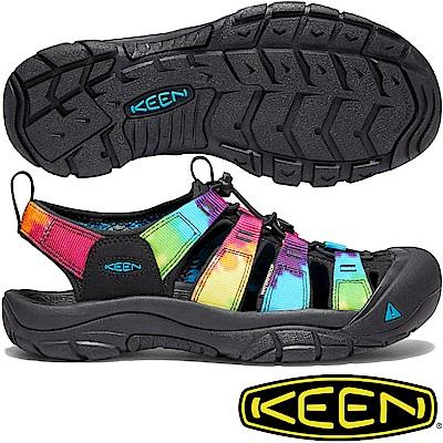 KEEN 1018822黑/彩色 Newport Retro 女戶外護趾涼鞋