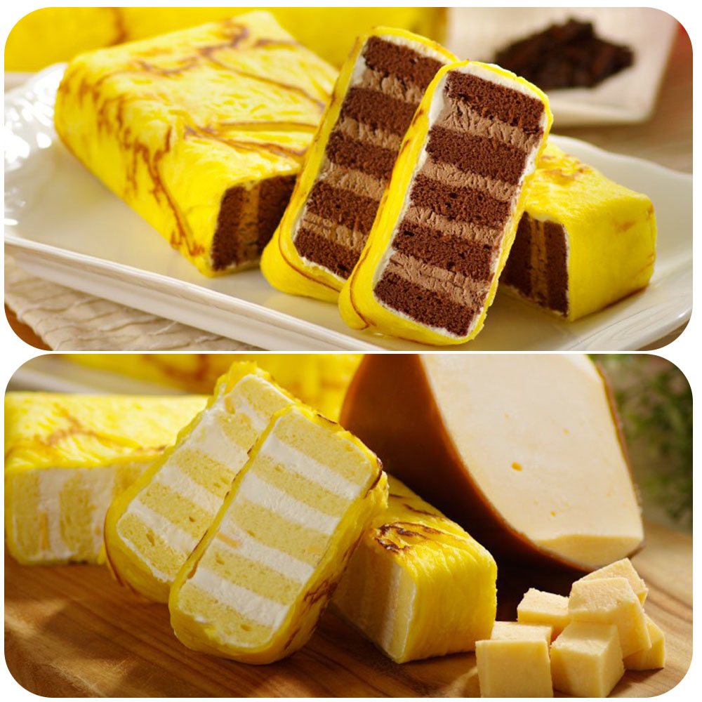艾葛蛋捲狂人 金磚蛋糕(巧克力脆片x1片+鮮乳起司x1片)
