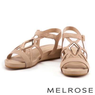 涼鞋 MELROSE 菱形金屬方釦牛皮厚底涼鞋-米