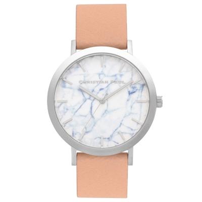 Christian Paul 大理石系列 銀框/桃粉色皮革手錶43mm