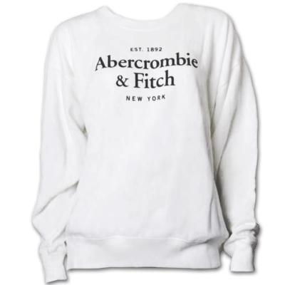 A&F Abercrombie & Fitch 經典LOGO圓領長袖T恤-白