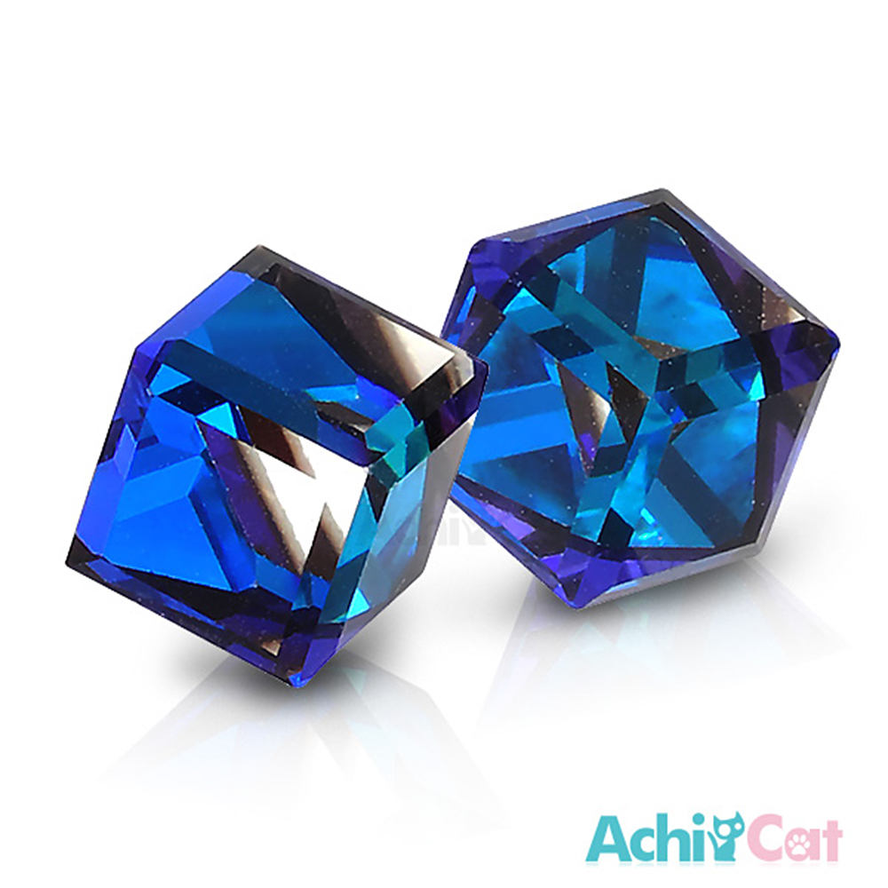 AchiCat 白鋼耳環耳針式 絢麗方塊(深邃藍)