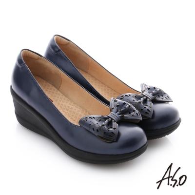 A.S.O 紓壓氣墊 真皮蝴蝶結飾釦楔型休閒鞋 深藍色