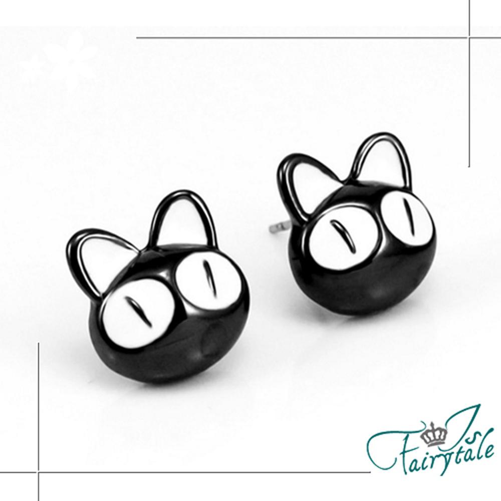 iSFairytale伊飾童話 卡通黑貓 俏皮童趣耳環