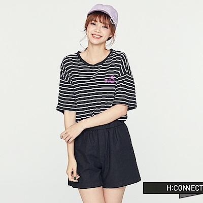 H:CONNECT 韓國品牌 女裝 - 條紋棉質圓領上衣-黑