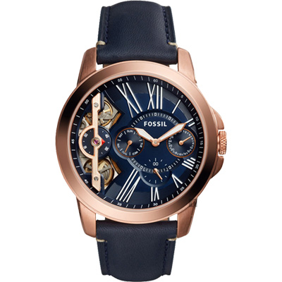 FOSSIL TWIST系列雙機芯日曆腕錶(ME1162)-藍x玫瑰金框/44mm