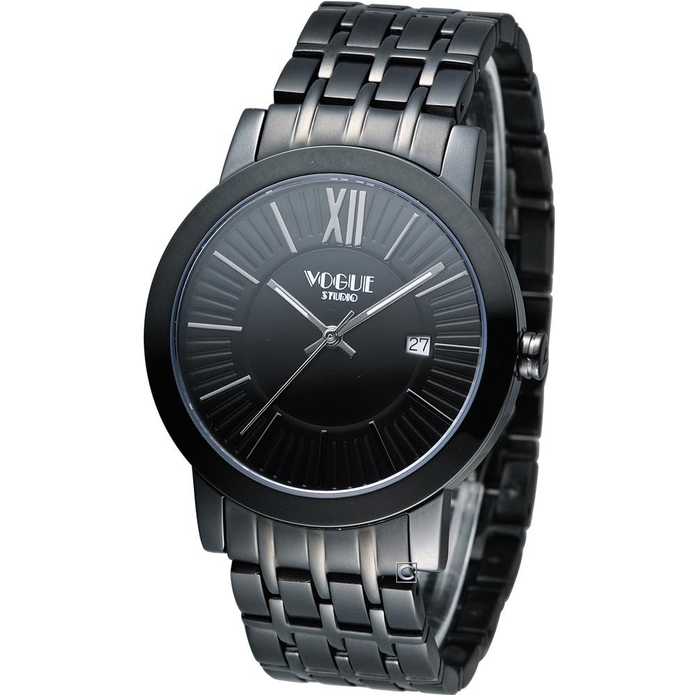 VOGUE 低調簡約時尚腕錶-黑/40mm