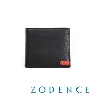 ZODENCE MAN 義大利牛皮系列紅底配色LOGO拉鍊零錢袋短夾 黑