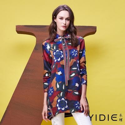 YIDIE衣蝶 色塊印花條紋緞帶上衣