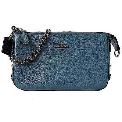 COACH 專櫃款皮革花朵側邊飾晚宴手拿包(藍綠)