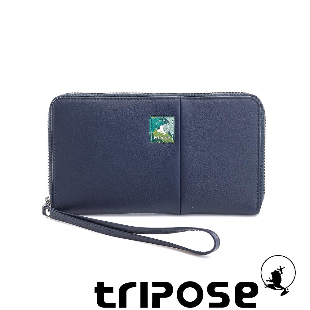 tripose 輕休閒牛皮拉鍊長夾 深藍