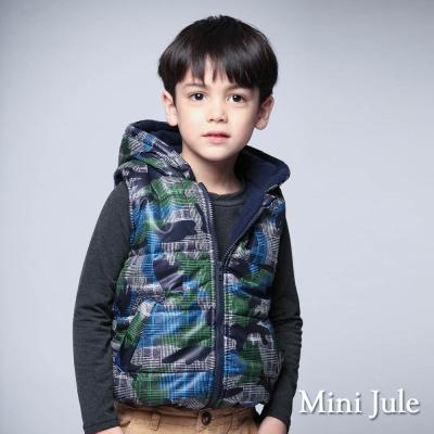 Mini Jule 童裝-鋪棉背心 搖粒絨幾何格紋連帽背心(綠)