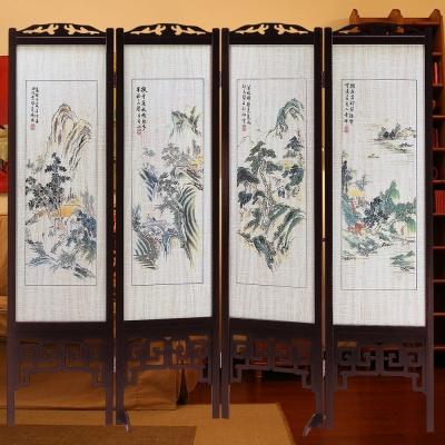 時尚屋 中國風彩色山水6尺雙面屏風 寬182cm 多色可選-免組