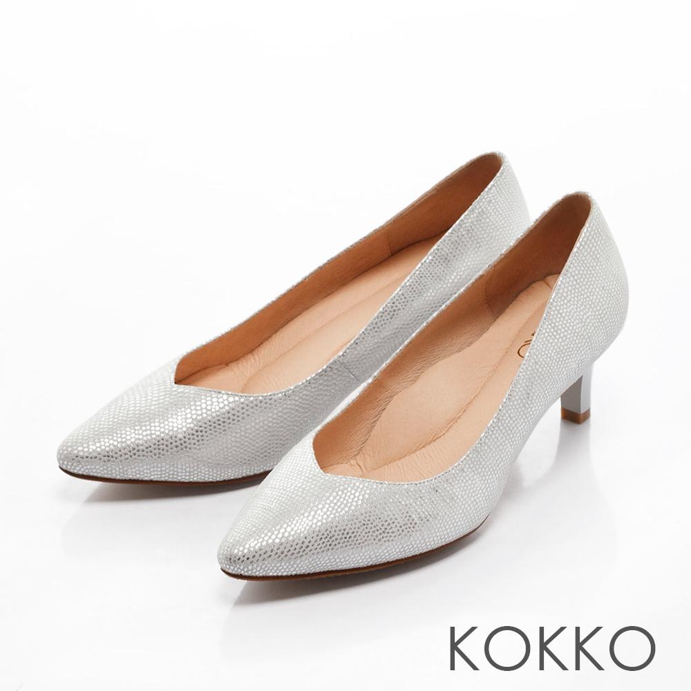 KOKKO-經典尖頭透氣真皮高跟鞋- 點點銀