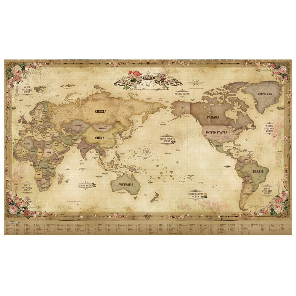 Indimap 環遊世界世界地圖海報(改版-雙層)-01古董版