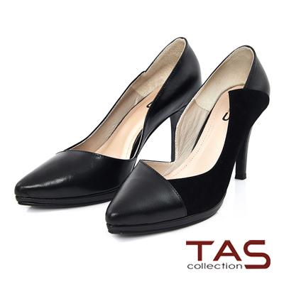 TAS-特殊鏤空剪裁拼接羊皮高跟鞋-性感黑
