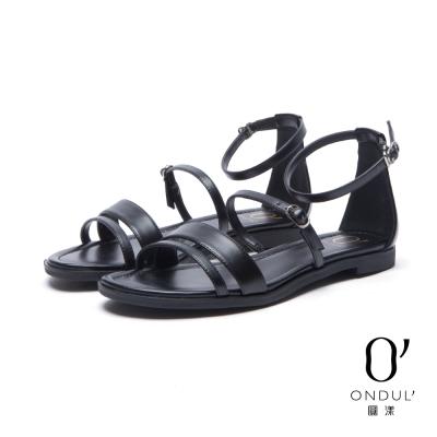 達芙妮x高圓圓 圓漾系列 涼鞋-細扣帶多重一字平底涼鞋-黑