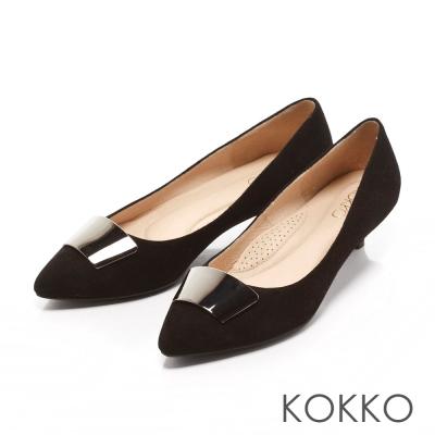 KOKKO-典雅黑曜金屬麂皮跟鞋-霧素黑