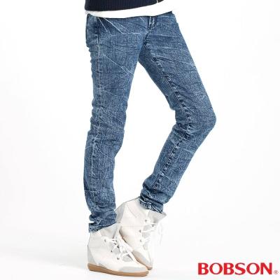BOBSON 女款30度雪俏小直筒褲(藍53)