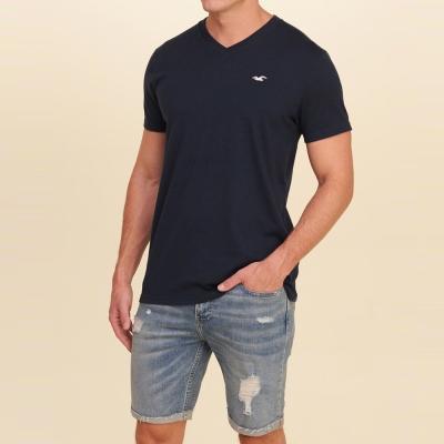 HCO Hollister 經典刺繡海鷗素色短袖T恤-深藍色