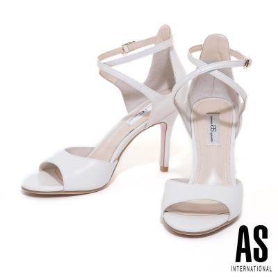 涼鞋-AS-摩登絕美繞帶羊皮高跟涼鞋-米