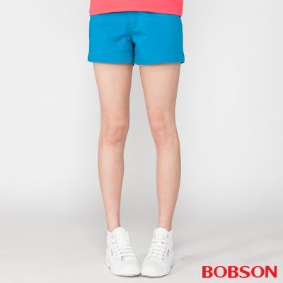 BOBSON 女款彈性色布短褲(藍206-53)