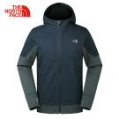 The North Face北面男款墨綠色防風防潑水戶外軟殼外套