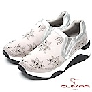 CUMAR樂活休閒-星型水鑽裝飾休閒厚底鞋-淺灰色