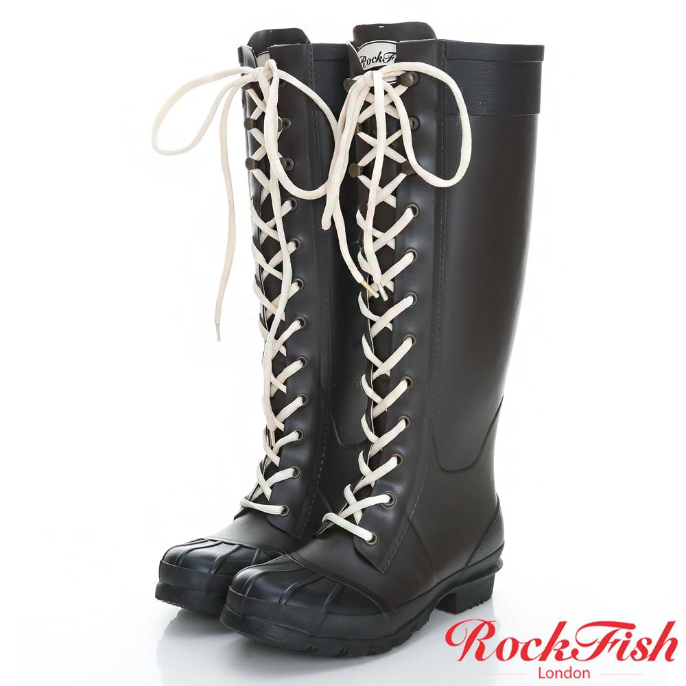 ROCKFISH 中性帥氣風長筒綁帶雨靴 摩登系列 摩卡咖