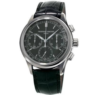 康斯登 CONSTANT自製機芯返馳式計時腕錶-42mm/深灰x黑