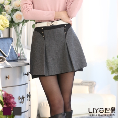 LIYO理優褲子-雙排扣羊毛褲裙-深灰-暗紅