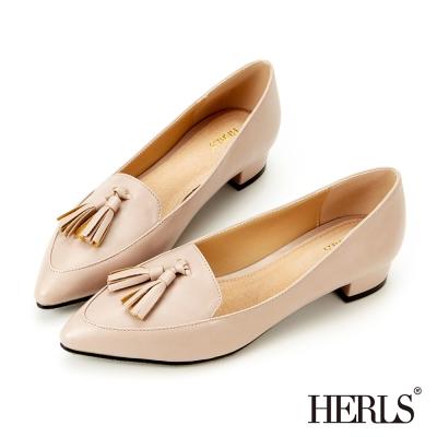 HERLS-內真皮流蘇優雅低跟鞋-粉色