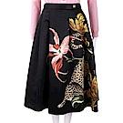 CLASS roberto cavalli 獵豹花卉印花黑色絲緞圓裙