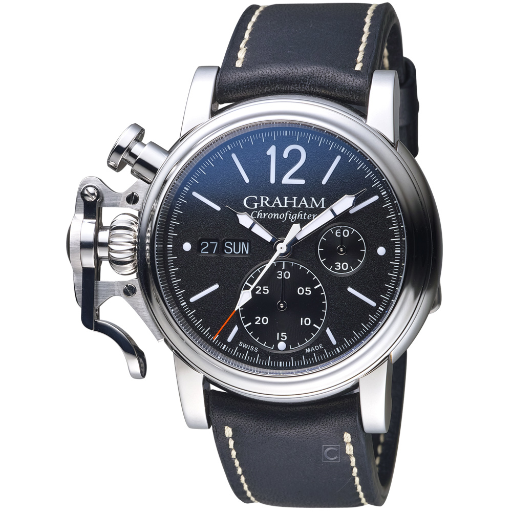 GRAHAM格林漢 左冠復古紳士計時腕表-黑色/43mm