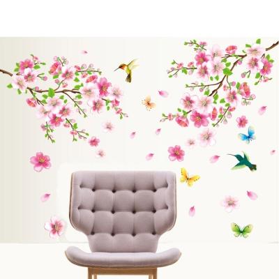 A-152花草系列-蝶戀桃花大尺寸高級創意壁貼 / 牆貼