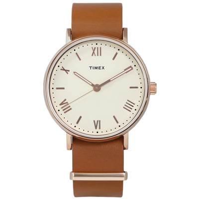 TIMEX 天美時 美國指標簡約羅馬設計真皮手錶-米白x玫瑰金框x卡其/41mm