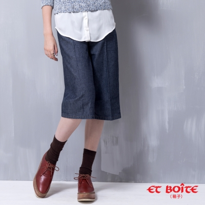 ETBOITE 箱子 BLUE WAY 時髦立體丹寧七分寬褲-深藍
