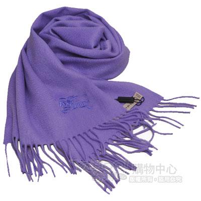 BURBERRY 經典大戰馬刺繡100%喀什米爾羊毛圍巾(亮紫)