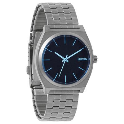 NIXON The TIME TELLER輕質時尚休閒都會腕錶-鋼帶灰藍/37mm