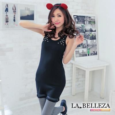 La Belleza雙肩鉚釘下接網長背心