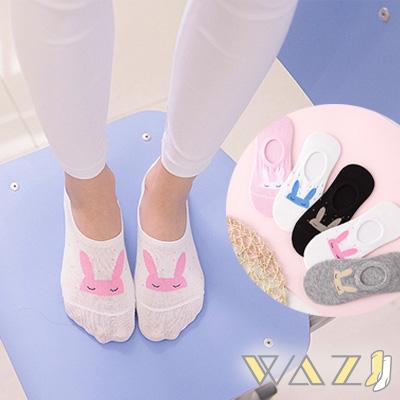 Wazi-點點閉眼兔子棉短襪隱形襪 (1組五入)