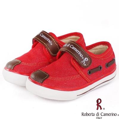 Roberta諾貝達 牛仔布舒適乳膠鞋墊帆布童鞋-紅