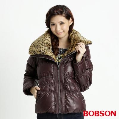BOBSON 女款豹紋大領片羽絨外套(咖76)
